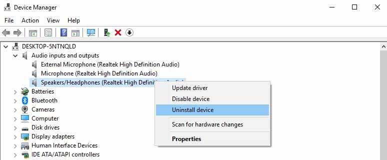 audio driver uninstall