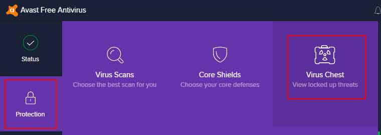 avast protection virus chest