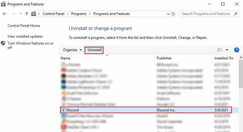 uninstall discord program