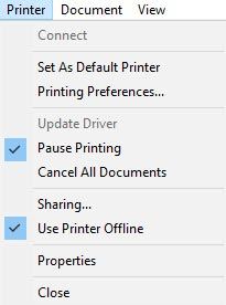 pause printing
