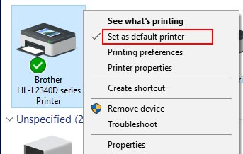 printer set as default