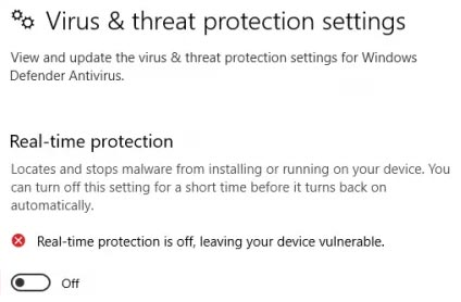 realtime protection windows security
