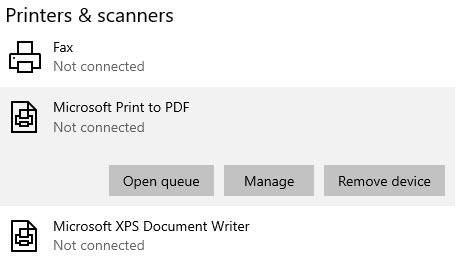 remove printer from settings